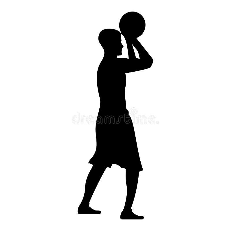 O jogador de basquetebol joga uma ilustração de cor de tiro do preto do ícone da opinião lateral da bola do homem do basquetebol ilustração stock