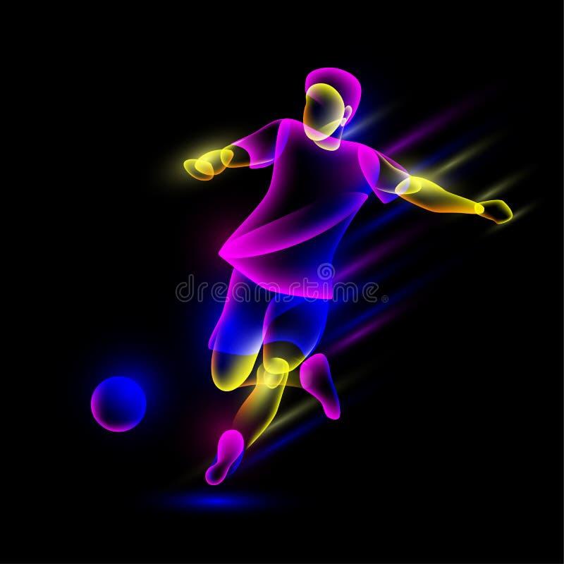 O jogador de futebol bate a bola de futebol As camadas de néon abstratas da folha de prova olham como um caráter virtual do jogad ilustração royalty free