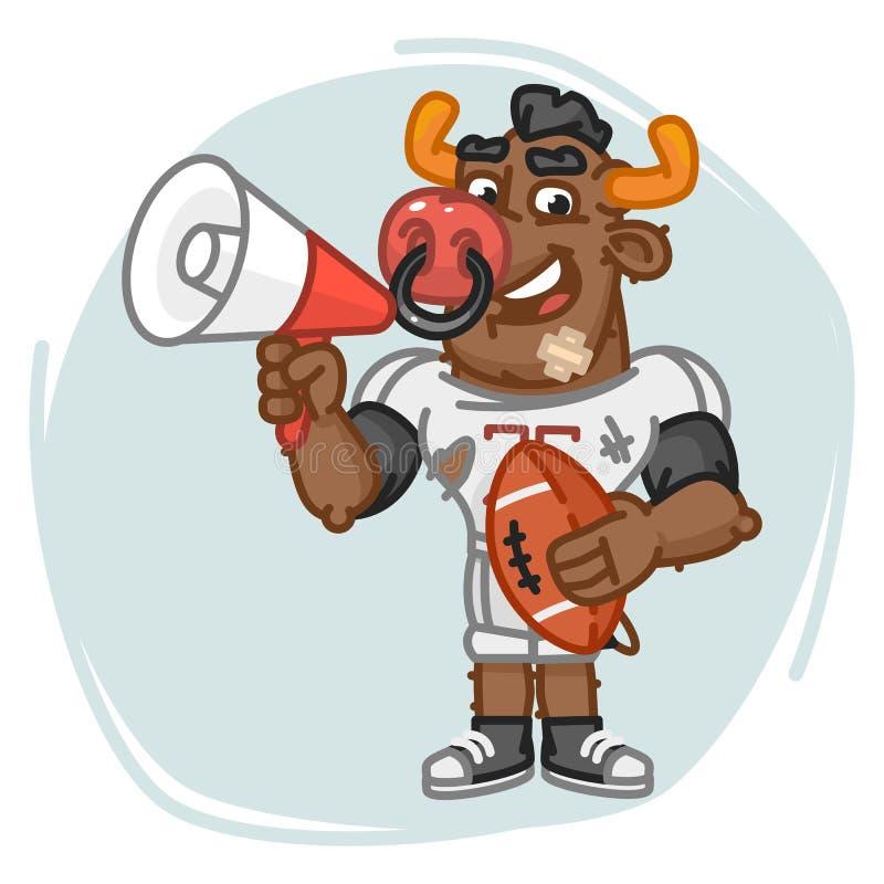 O jogador de futebol de Bull fala no megafone e guarda a bola ilustração stock