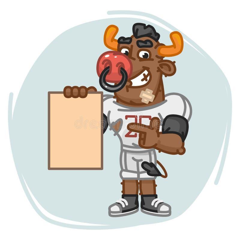 O jogador de futebol de Bull indica no papel da folha vazia ilustração do vetor