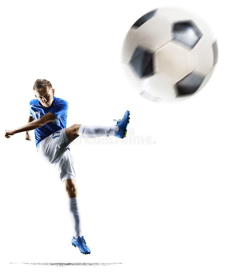 O jogador de futebol do futebol profissional na ação isolou o fundo branco fotografia de stock royalty free