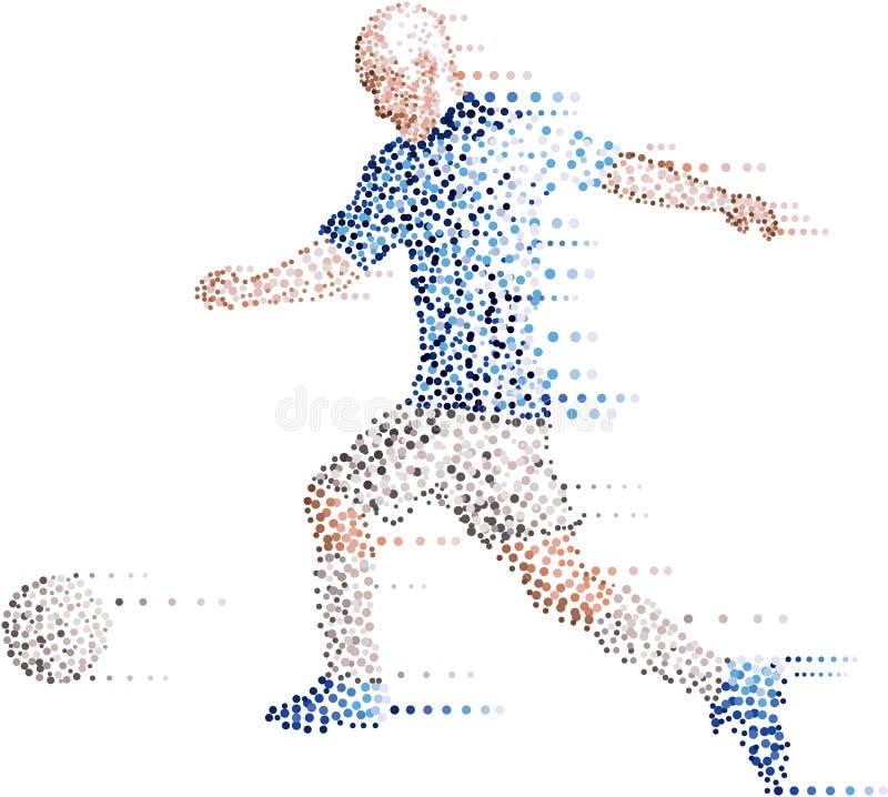 O jogador de futebol moderno abstrato do futebol dos pontos, retrocede a bola ilustração royalty free