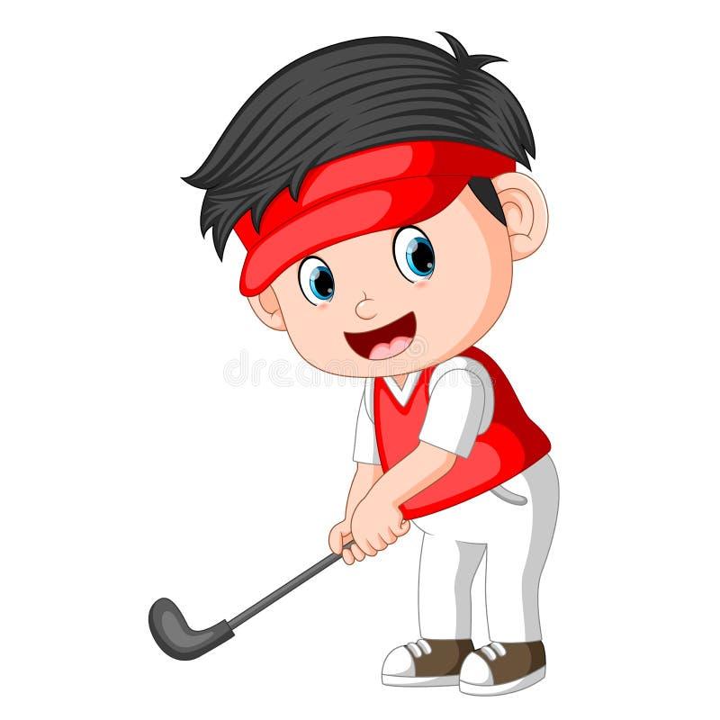 O jogador de golfe Ilustration do profesional das crianças ilustração do vetor