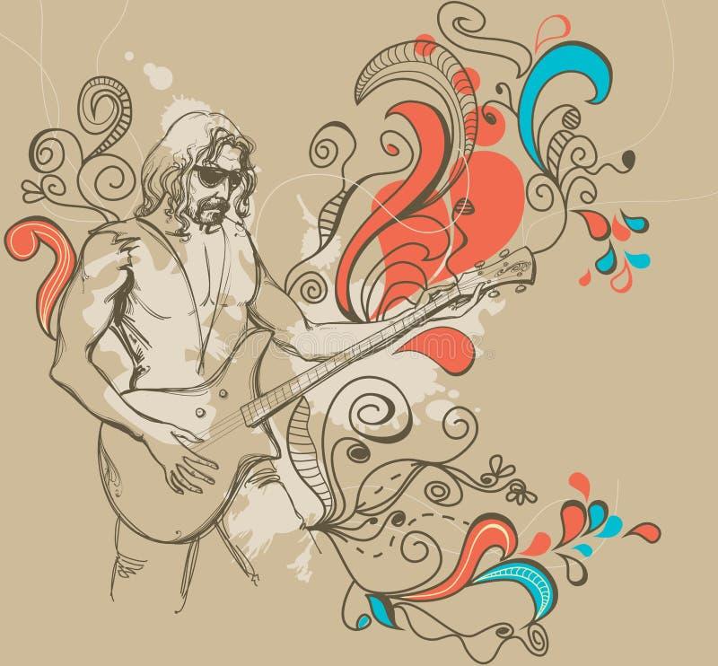 O jogador de guitarra ilustração do vetor