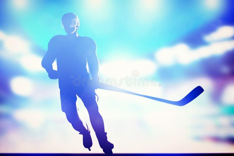 O jogador de hóquei que patina no gelo na noite da arena ilumina-se foto de stock