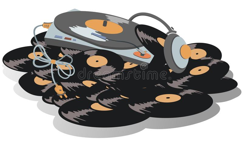 O jogador de registro, fones de ouvido está na pilha grande da ilustração dos registros de vinil ilustração do vetor