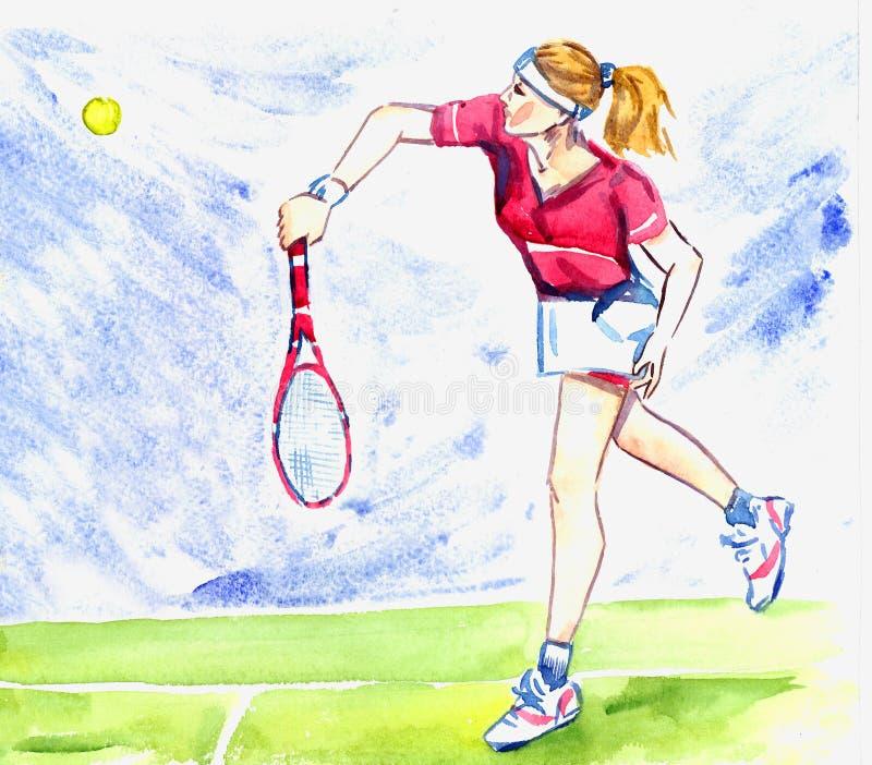 O jogador de tênis da mulher do atleta bate a bola pela raquete na corte ilustração do vetor