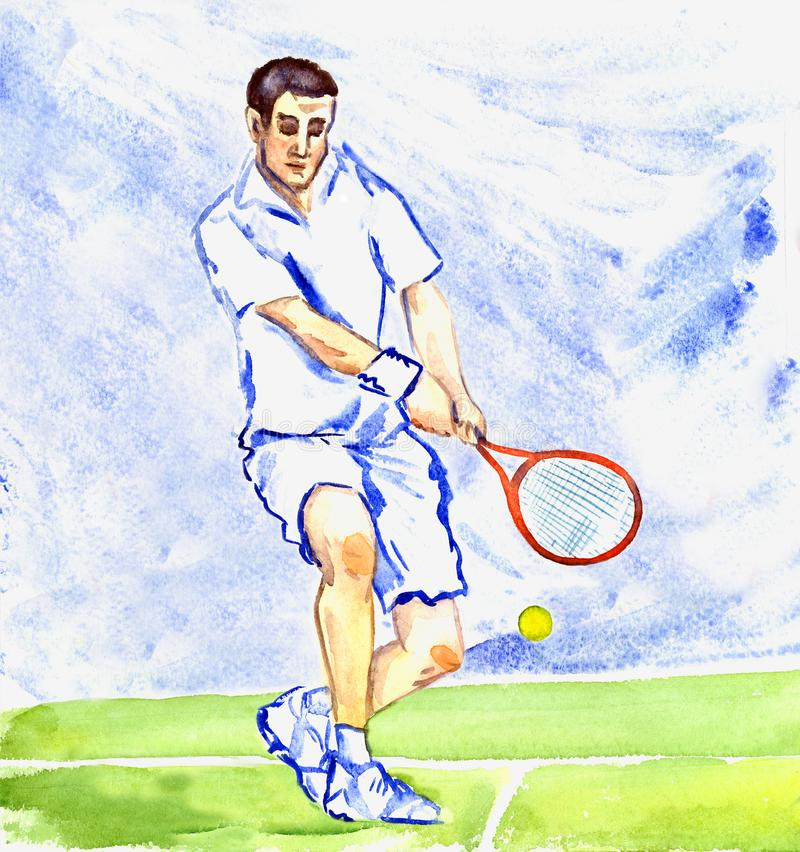 O jogador de tênis do atleta bate a bola pela raquete na corte na ilustração do vetor