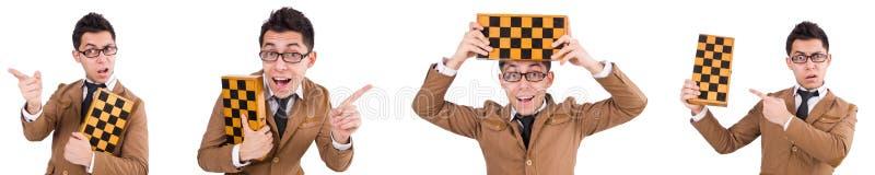 O jogador de xadrez engraçado isolado no branco imagens de stock royalty free