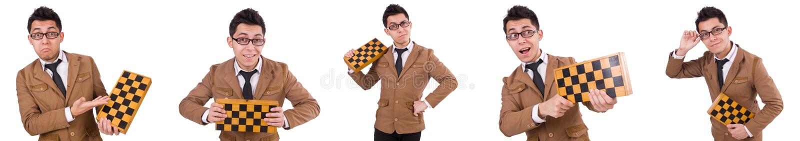 O jogador de xadrez engraçado isolado no branco fotografia de stock royalty free