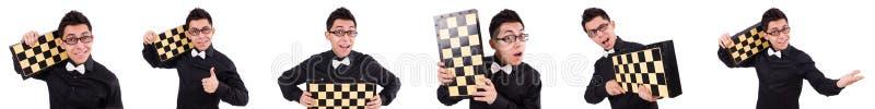 O jogador de xadrez engraçado isolado no branco imagens de stock