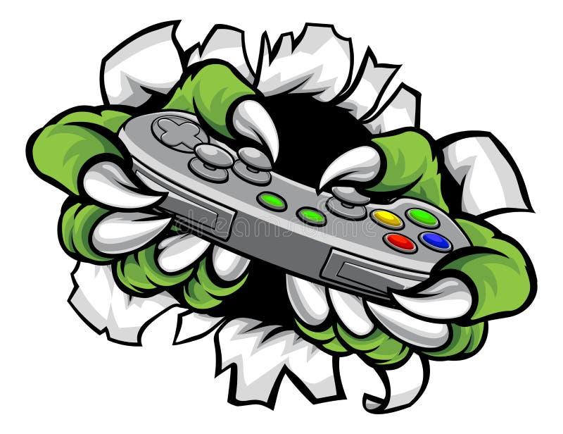 O jogador do monstro agarra guardar o controlador ilustração do vetor