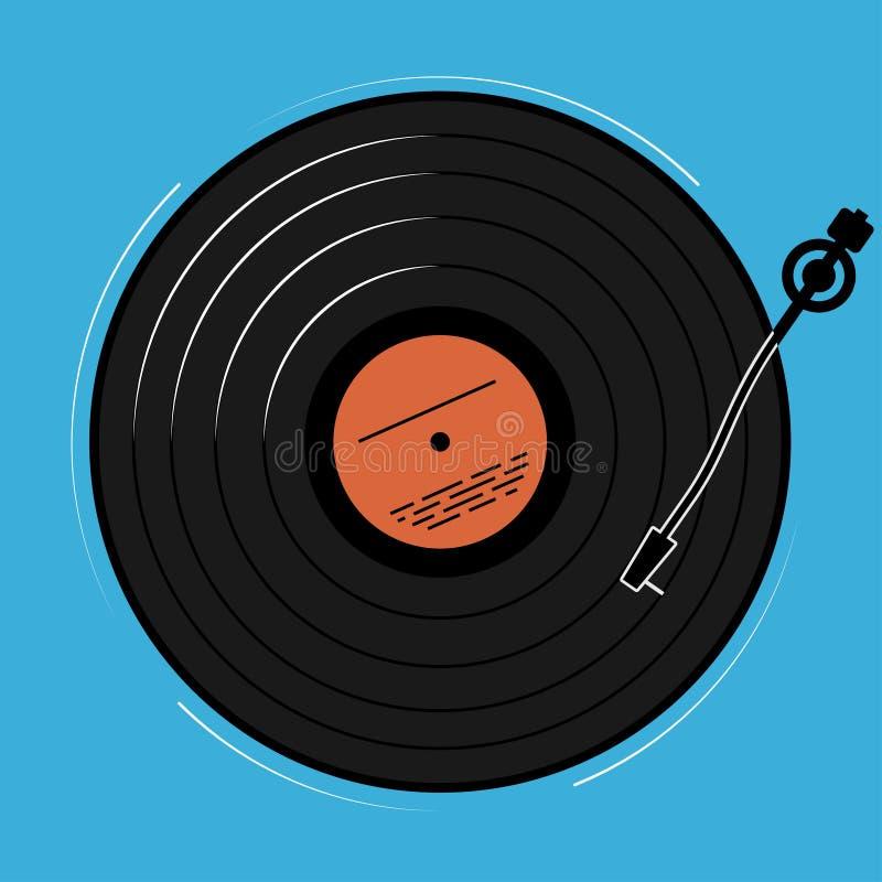 O jogador do vinil mostrado esquematicamente e simplesmente Um registro com música para um disco ou um clube noturno ilustração stock