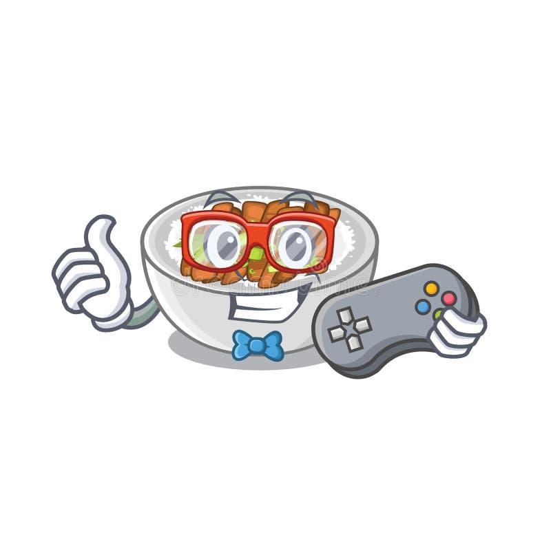 O jogador Donburi é cozido em uma habilidade ilustração stock