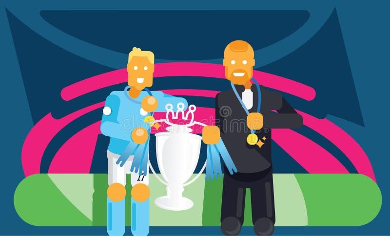 O jogador e o treinador azuis de futebol da equipe comemoram com troféu ilustração royalty free