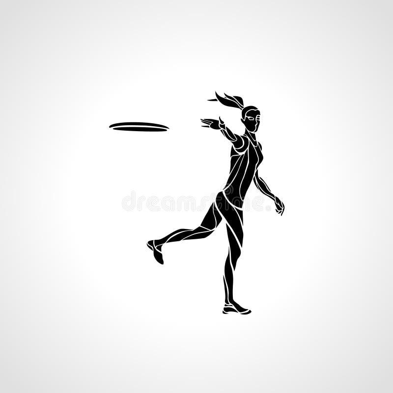 O jogador fêmea está jogando o disco de voo ilustração stock