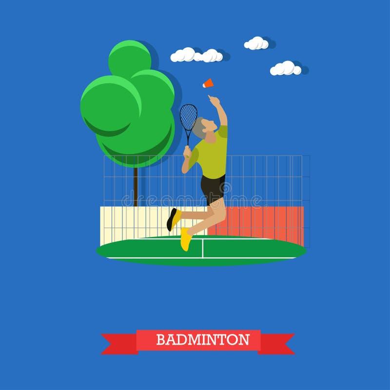 O jogador masculino do badminton que faz com violência disparou na corte ilustração stock