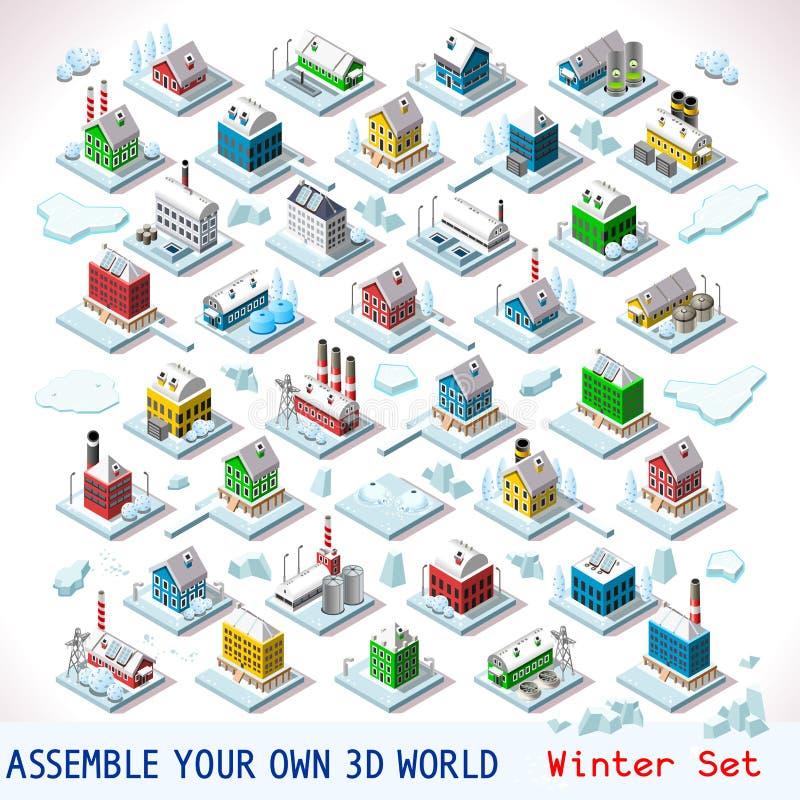 O jogo ajustou a construção 07 isométrica ilustração royalty free