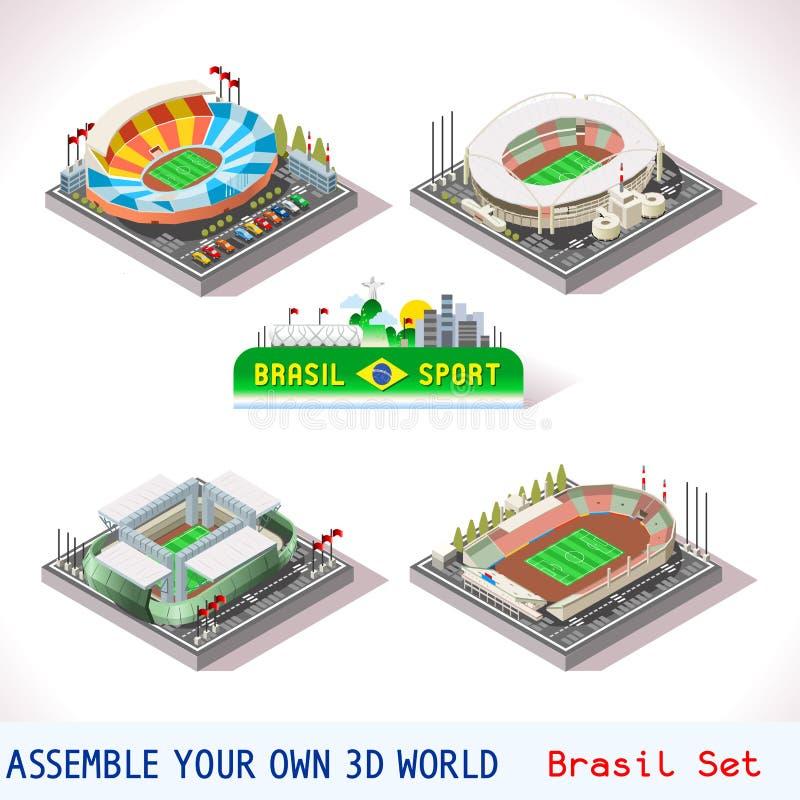 O jogo ajustou a construção 12 isométrica ilustração royalty free