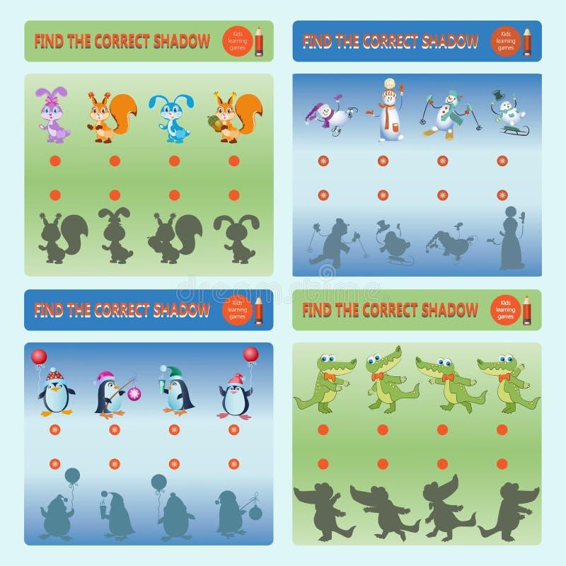 O jogo ajustou-se com esquilos, coelhos, bonecos de neve, crocodilos e pinguins ilustração royalty free