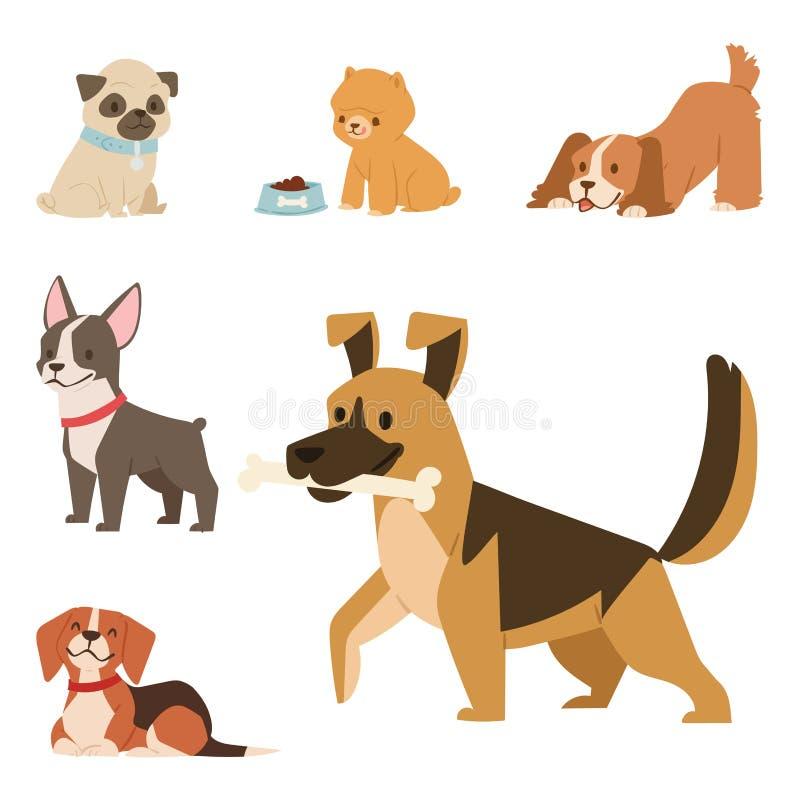 O jogo bonito do cachorrinho persegue do mamífero feliz cômico engraçado do puro-sangue dos caráteres a ilustração canino do veto ilustração do vetor