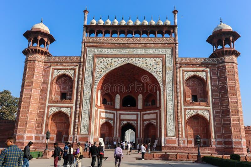 O jogo da entrada principal de Taj Mahal, Agra imagens de stock royalty free