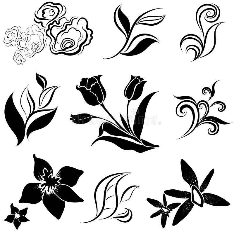 O jogo da flor preta e as folhas projetam elementos ilustração do vetor