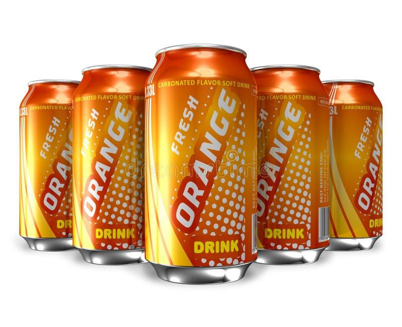 O jogo da soda alaranjada bebe em umas latas do metal ilustração stock