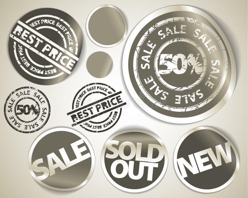 O jogo da venda do grunge etiqueta emblemas e etiquetas ilustração do vetor