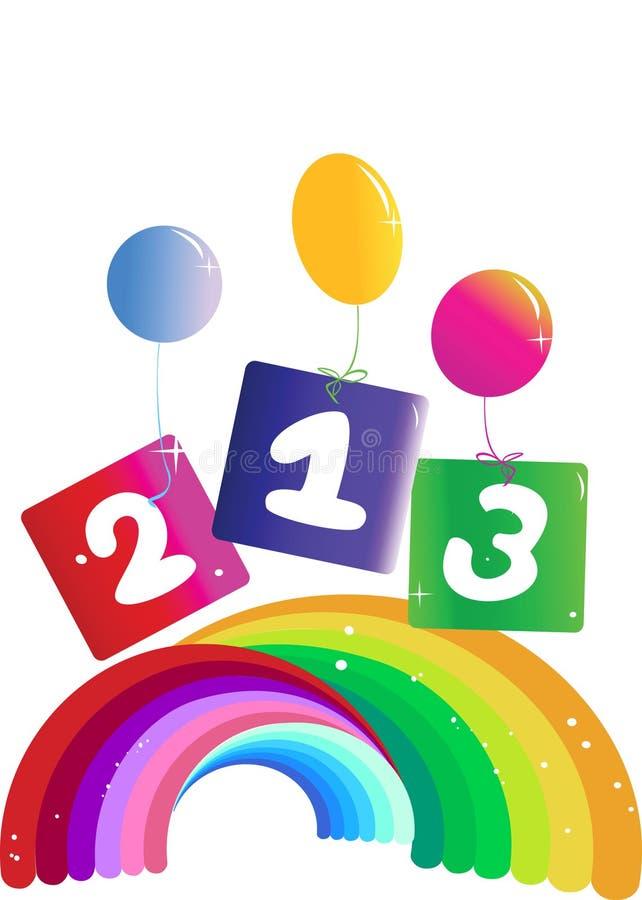 O jogo das imagens do arco-íris numera com balões imagens de stock royalty free