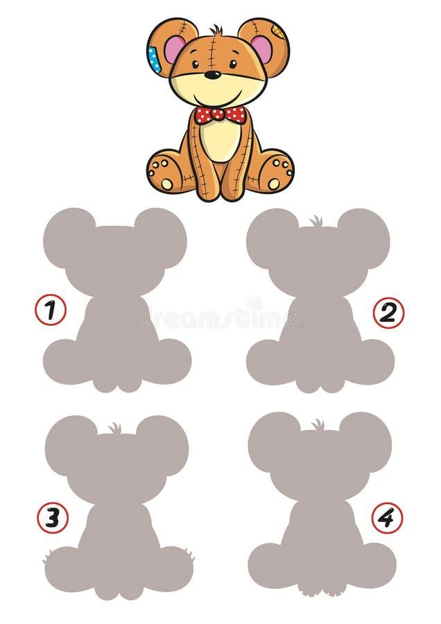 O jogo das sombras, urso de peluche ilustração stock