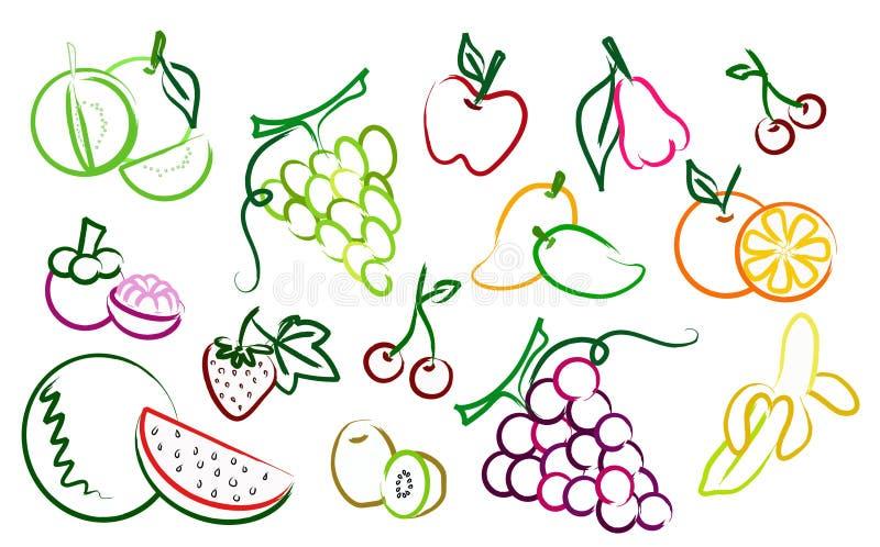 O jogo de ícones do desenho da fruta ilustração royalty free