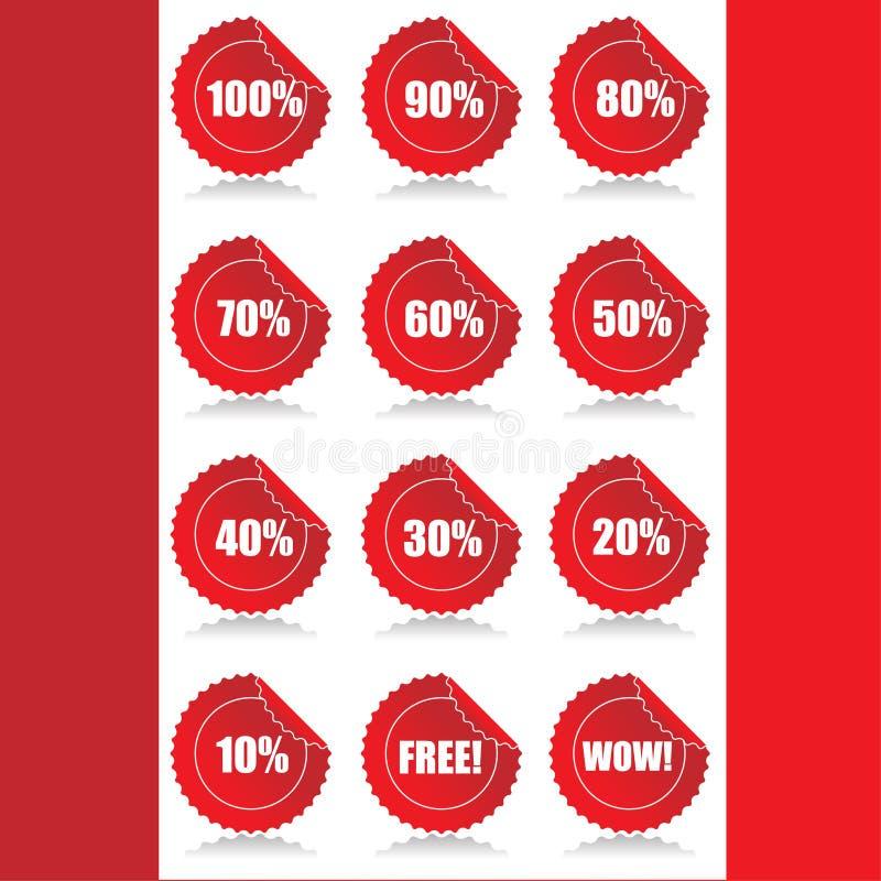 O jogo de 12 vendas lustrosas etiqueta etiquetas com o disconto ilustração royalty free