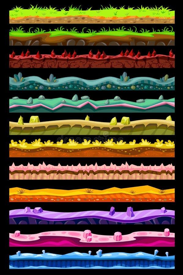 O jogo de computador ajardina a coleção ilustração do vetor