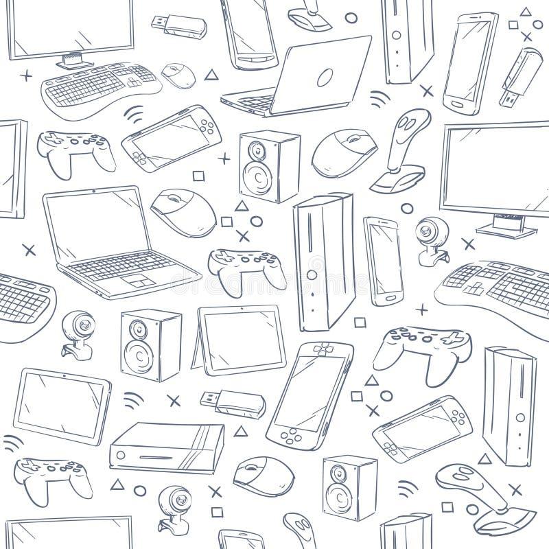 O jogo de computador, dispositivo, esboço social do vetor do jogo rabisca o teste padrão sem emenda ilustração do vetor