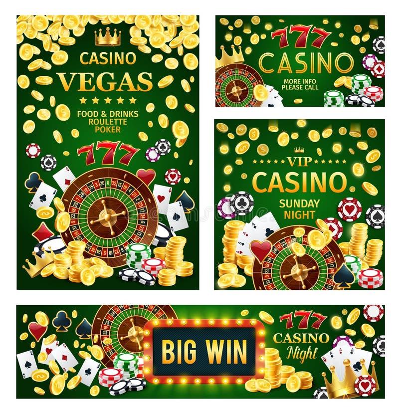 O jogo de jogo do pôquer do casino com roleta e corta ilustração royalty free