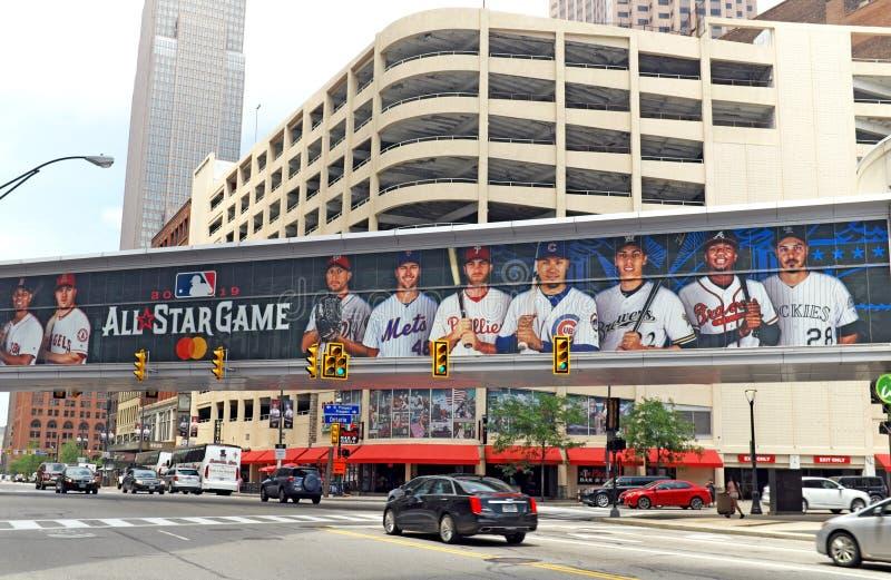 O jogo de 2019 E.U. Major League Baseball All Star é anunciado em Cleveland do centro, Ohio, EUA imagens de stock royalty free