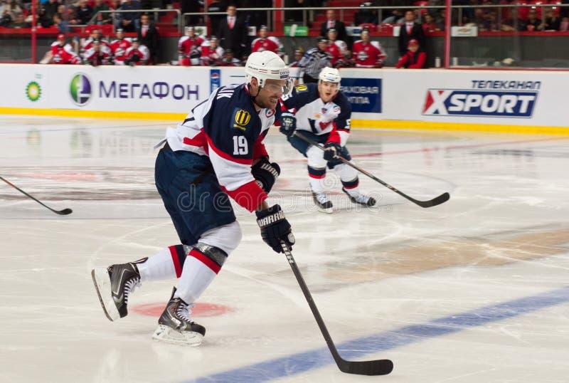 O jogo de jogadores de hóquei em gelo Slovan (Bratislava) imagens de stock royalty free