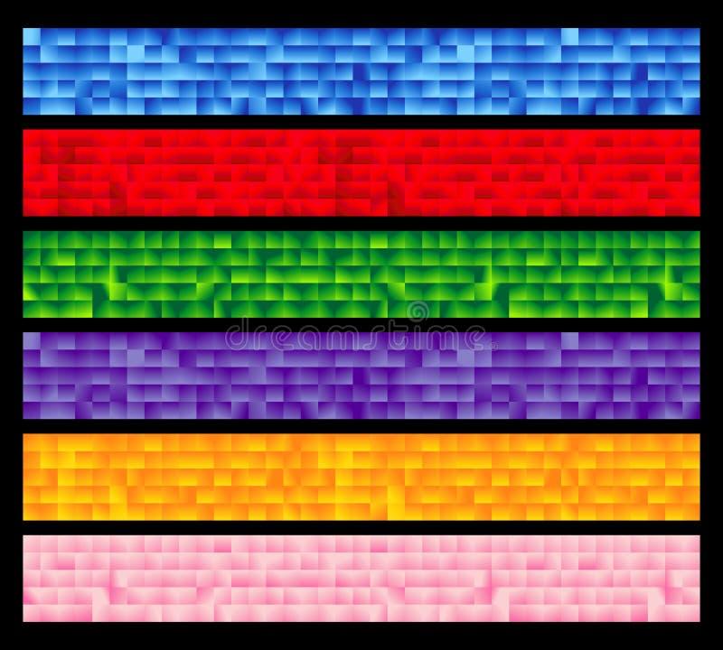 O jogo de seis telhou bandeiras coloridas ilustração stock