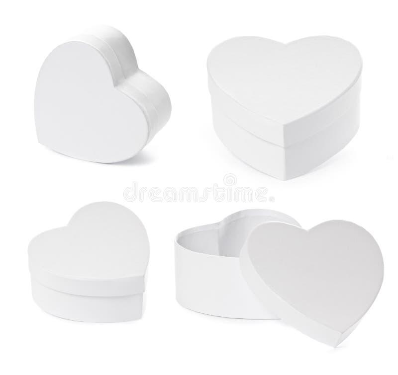 O jogo do coração deu forma a caixas de presente com trajeto de grampeamento fotografia de stock royalty free
