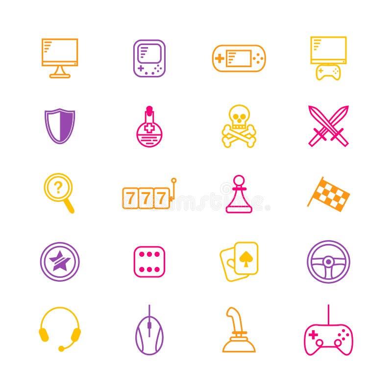 O jogo do jogo, da tabela e de computador alinha finamente o grupo do ícone Vetor ilustração royalty free