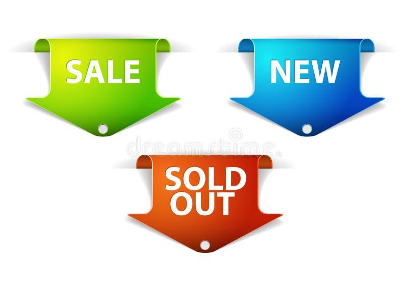 O jogo do eshop etiqueta para novo, a venda e artigos para fora vendidos ilustração stock