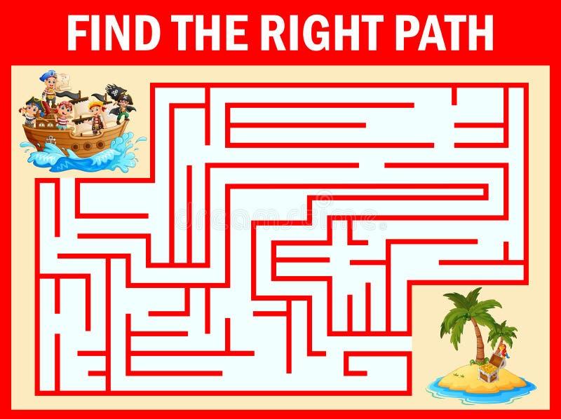 O jogo do labirinto encontra uma maneira do grupo dos meninos dos piratas de estimar a ilha ilustração royalty free