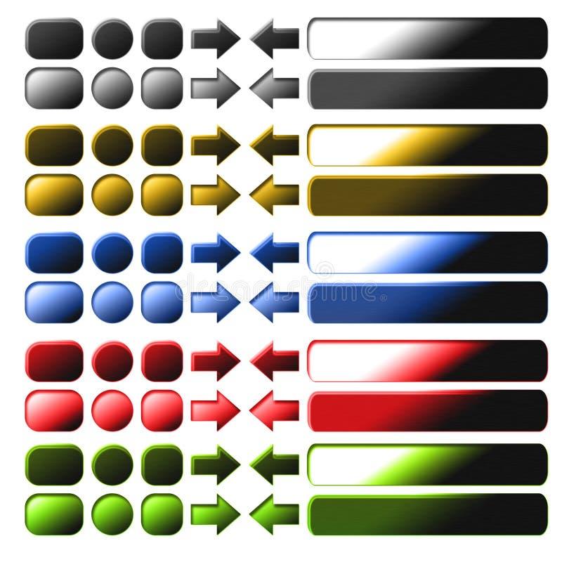 O jogo do metal abotoa-se para a computação e o projeto de Web ilustração do vetor