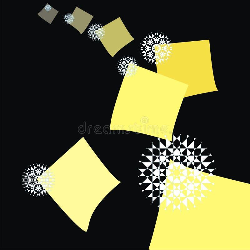 O jogo do papel de nota amarelo cobre com flocos de neve imagem de stock royalty free