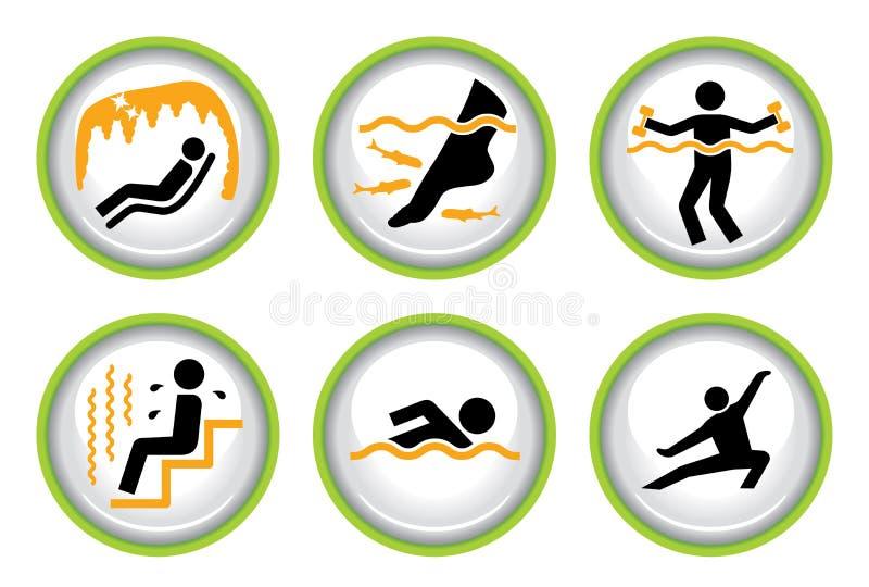 O jogo do pictograma de Wellness&Spa abotoa II ilustração stock