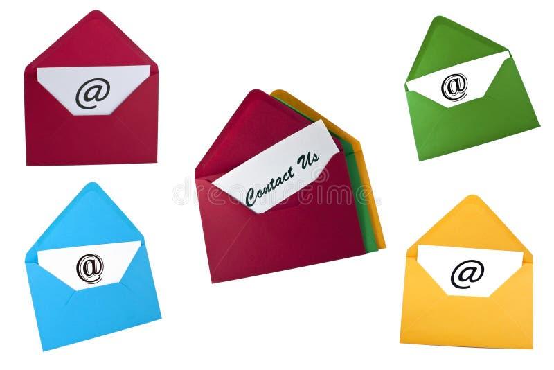 O jogo do símbolo do email e contata-nos cartões imagem de stock royalty free