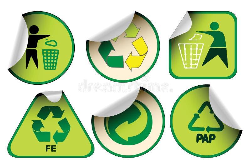 O jogo do verde recicl etiquetas ilustração stock