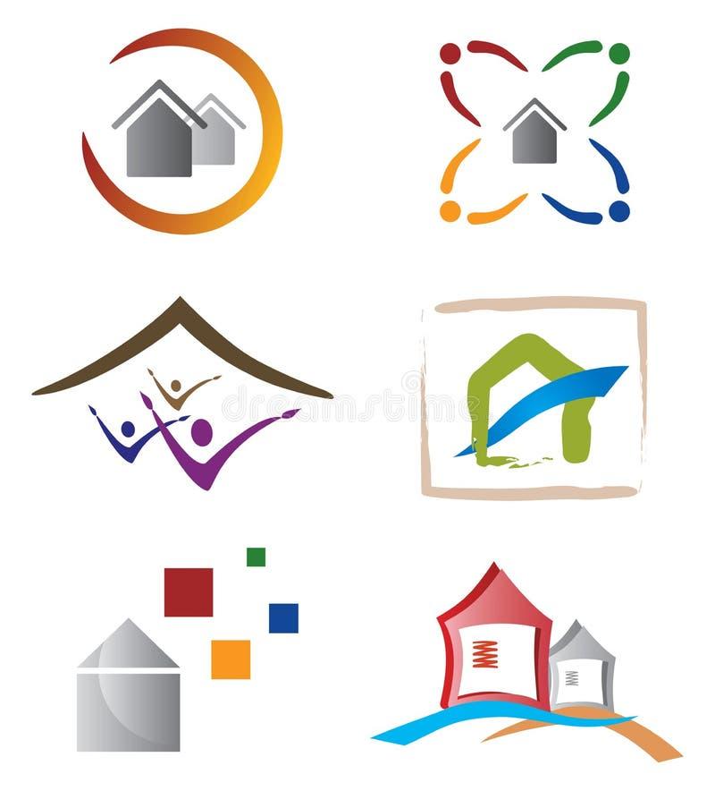 O jogo dos ícones e dos elementos do logotipo dirige/casa ilustração do vetor
