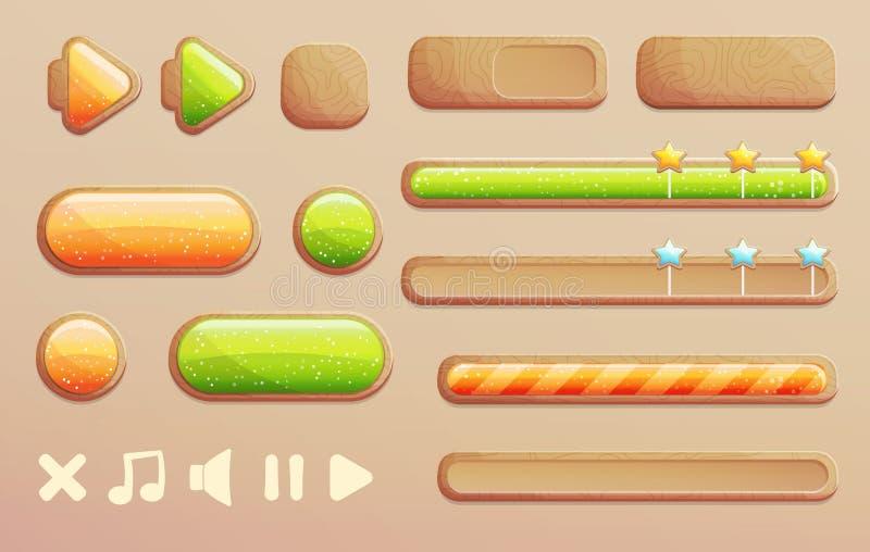 O jogo dos desenhos animados e o app projetam botões de madeira ilustração royalty free